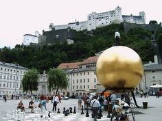 Been here and watched people play chess on this giant chess board. I've watched people carve their names into the big gold ball. Places To Travel, Places To See, Places Ive Been, Wonderful Places, Beautiful Places, Travel Around The World, Around The Worlds, Salzburg Austria, Living In Europe