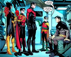 Bat-Family (Batman(Bruce Wayne), Robin(Demian Wayne), Red Robin (Tim Drake), Red Hood(Jason Todd), Batgirl(Barbara Gordon), Nightwing(Dick Grayson).-