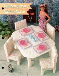 Table and chairs for barbie | esther work. especially for barbie