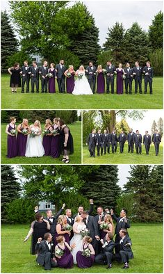 Love the purple dresses with grey tuxes! Iowa Wedding Photography | CTW Photography