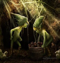 Elves Faeries Gnomes: Pixies gathering food for winter. Woodland Creatures, Magical Creatures, Fantasy Creatures, Fairy Dust, Fairy Land, Fairy Tales, Fantasy World, Fantasy Art, Arte Elemental