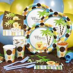 Bring the explorers of your jungle party to the table with jungle tableware and jungle table decorations. Guests love sitting down to fun snacks or a great meal served on safari tableware. Design the look of your tables with safari table decorations. Baby Shower Supplies, Baby Shower Favors, Baby Shower Games, Baby Shower Parties, Baby Boy Shower, Baby Shower Decorations, Shower Party, Shower Time, Shower Gifts