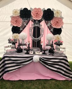 "383 Likes, 7 Comments - Blanca (@abgm.artdesign) on Instagram: ""Paper flower backdrop in colors white, pink, black and silver used for a CHANEL theme babyshower.…"""