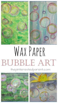 Wax Paper Bubble Art - a mixed media bubbles art project for the kids. Perfect for spring or summer. Watercolors and pastels