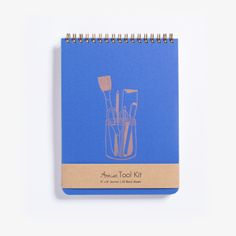 Artist Tool Kit Notebook. Letterpress cover, bronze ink. Blank pages for sketching, doodling, drawing.