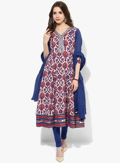 31dbf5438b56d6 Buy Sangria Long Length Flared Printed Kurta With Embroidered Placket  Alongwith Churidar And Dupatta for Women