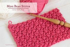 How To: Crochet The Mini Bean Stitch - Easy Tutorial (Hopeful Honey) Stitch Crochet, Tunisian Crochet, Learn To Crochet, Crochet Crafts, Crochet Yarn, Yarn Crafts, Free Crochet, Crochet Granny, Diy Crafts