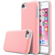 ULAK® iPod Touch 6 Case,iPod Touch 5 Case,Slim-Protection [ SLICK ARMOR ] Hybrid Dual Layer Shockproof Hard Case Cover for Apple iPod Touch 6 5th Generation (Baby Pink+Grey)