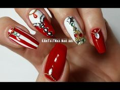 Christmas/New Years Nails: Three Nail Art Designs for Holidays (Khrystynas Nail Art) - YouTube
