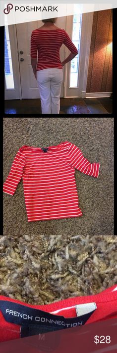 Red & white striped French Connection blouse med. Sooo chic French Connection red and white striped blouse! Size M fits like small/med. Add white pants/shorts and you will be Summer ready! very gently worn French Connection Tops Blouses