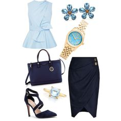 Off to Work in Blues by colourmepretti on Polyvore featuring Prabal Gurung, Altuzarra, Sole Society, Henri Bendel, Michael Kors, Dolce&Gabbana and Tiffany & Co.