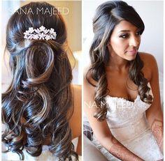 Hair idea. Half up half down hairstyles for wedding day. Asian wedding ideas.