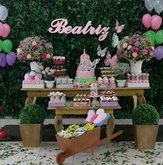 Inspiração... Jardim das Borboletas! Butterfly Theme Party, Butterfly Garden Party, Baptism Decorations, Birthday Party Decorations, Birthday Parties, Fairy Birthday, Unicorn Birthday, 1st Birthdays, Baby Shower Themes
