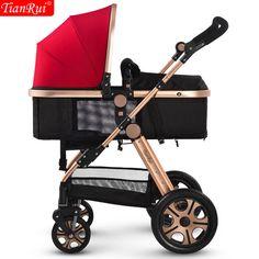 TIANRUI Baby Stroller 3 in 1 Classic 8 Free Gifts Folding Carriage Buggy Pushchair Pram Newborn Infant Car 4 wheels cart trolley