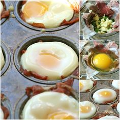 Baked Eggs and Prosciutto Cups. Runny eggs and prosciutto need I say more. I'll be having these on wheat toast this weekend that's for sure. Egg Recipes, Brunch Recipes, Paleo Recipes, Whole Food Recipes, Cooking Recipes, Cooking Tips, Breakfast Dishes, Breakfast Casserole, Breakfast Recipes