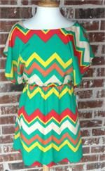 Multi Color Chevron Stripe DressThis chevron stripe multi color dress is to die for! Elastic waist, lined, 100% polyester. So cute with a pair of boots and a great necklace!! $35.00