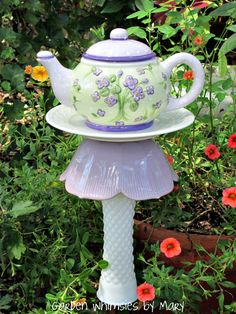 Teapot garden stake by Garden Whimsies by Mary