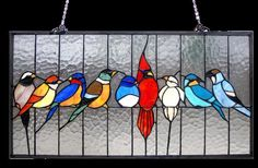 """Singing BirdsTiffany Style Stained Glass Window Panel 24"""" Long x 13"""" High"""