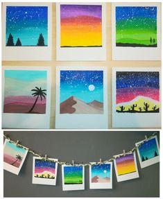 Inspirated by Polaroid Galaxy Cute Canvas Paintings, Small Canvas Art, Mini Canvas Art, Arte Sharpie, Oil Pastel Art, Galaxy Painting, Watercolor Galaxy, Acrylic Art, Diy Art