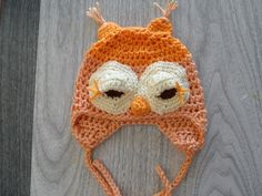 Little Pumpkin head Owl Hat 0-3 months by Cottage in the Pines, $14.99 USD