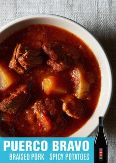 PUERCO BRAVO [BRAISED PORK STEW with SPICY POTATOES] | Uproot Wines & Food52 | Stay warm with this spicy slow cooked pork shoulder stew. Serve up with our Spanish-style Grenache. - http://www.drinkuproot.com/blogs/recipes/18176003-puerco-bravo-braised-pork-with-spicy-potatoes