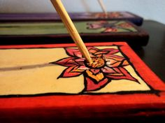 Incense Holder - Wooden Hand painted - Eastern, Lotus Flower - customized incense holder
