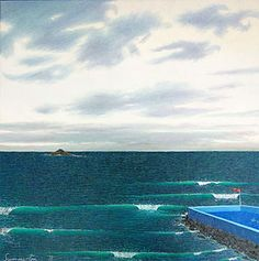 Justin Summerton The Hot Salt Water Pool, St Clair Australian Art, Page 3, Salt And Water, Art Auction, Contemporary Artists, New Zealand, Waves, Sea, Painting