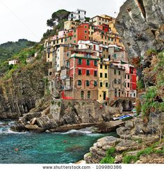 colorful Riomaggiore village,