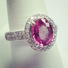 18k white gold pink tourmaline and diamond ring!!