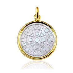Médaille motif Mérovingien Nacre et Or jaune 18 carats - 19 mm - Médaille motif Mérovingien