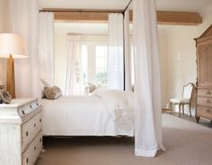 I like the mixed wood colors and textures together with neutral decor.  Interior Design, Annelle Primos, Firefly Cottage