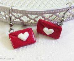 Kawaii Valentine's Day Envelope Polymer Clay earrings | Rilakkuma Shop