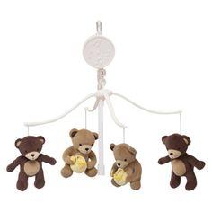Bedtime Originals Green, yellow brown Honey Bear Musical Mobile