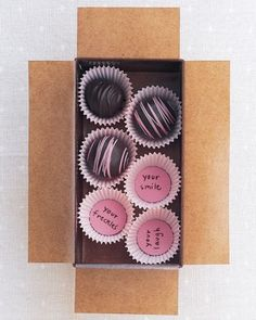 Sweet Surprises ~If you're giving chocolates as a gift, count the ways sweetly on small paper disks, and place one beneath each candy.