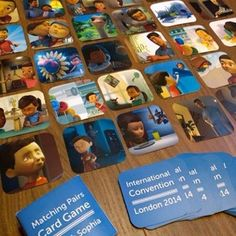 @stewartandzach made these Caleb and Sophia card matching games to hand out at the international convention in London. Neat =)
