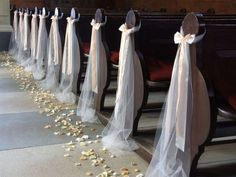 ideas for simple church wedding decorations, … - Church Wedding Decorations Aisle, Simple Church Wedding, Wedding Church Aisle, Wedding Pews, Wedding Chairs, Ceremony Decorations, Simple Weddings, Church Pews, Church Weddings