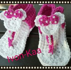 Baby crochet Minnie mouse sandals Cute little sandals in white and pink, perfect for the summer. Shoes Sandals