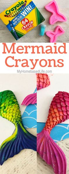 A great way to use up broken crayon pieces. Make Mermaid Crayons! If you're having a mermaid themed party, then you need to make these! Diy Gifts For Kids, Easy Crafts For Kids, Toddler Crafts, Crafts To Do, Projects For Kids, Diy For Kids, Craft Projects, Craft Ideas, Summer Crafts