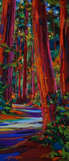 ☯☮ॐ American Hippie Bohemian Psychedelic Art ~ Redwood Walk. Artist unknown