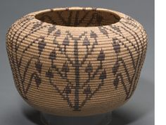 A Washo polychrome basket.  Alternating variations of flowering plants in a dense pattern running from base to rim. height 6 1/2in, diameter 10 in
