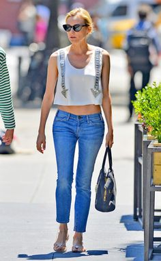 Toned Tummy from Diane Kruger's Street Style  She flashes a sliver of midriff in an embellished Chloé top with classic Chanel sandals.
