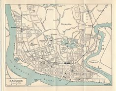 1953 Yangon Rangoon Myanmar Antique Map by on Etsy Perugia Italy, Yangon, Nagasaki, Antique Maps, City Maps, Guide Book, Vintage Prints, Custom Framing, Antiques