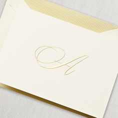 Engraved Script Initial Note: A hand engraved initial note for the demure starlet in all of us. Unapologetic swirls and curls aim to please the most discriminating dame.