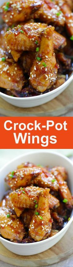 Crock-Pot Wings – sweet, savory and garlicky chicken wings cooked in a slow cooker with island teriyaki sauce. 10 mins prep time, so easy | rasamalaysia.com #ad