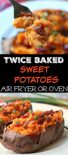 Twice Baked Sweet Potatoes (Air Fryer & Oven Instructions) - Sweet potatoes are baked or air fried, the pulp is removed, mashed together with bacon, butter, sour cream and cheese and then stuffed back into the potato skin and baked or air fried again.  I like having these for lunch but they also work awesome for a side dish at dinner.