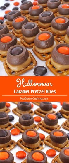 # Halloween Caramel Pretzel Bites are a great Halloween treat. Sweet, salty, crunchy and delicious they are an easy to make and yummy Halloween dessert that both you and your family will love. us for more Halloween Food ideas. Halloween Sweets, Halloween Chocolate, Halloween Goodies, Halloween Food For Party, Halloween Ideas, Halloween Stuff, Halloween Recipe, Halloween Candy, Halloween Deserts Easy