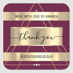 Thank You Shopping Custom Name Gold Marsala Vip Square Sticker Anniversary Party Favors, Wedding Anniversary, Luxury Store, Bridal Shower Favors, Marsala, Love Is Sweet, Business Supplies, Custom Stickers, Keep It Cleaner
