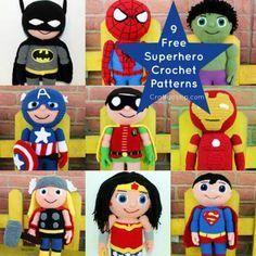 free-crochet-pattern-super-hero-batman batman-ironman-wonderwoman-thor-superman-hulk-marvel