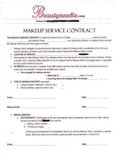 Freelance Hair Stylist Makeup Artist Bridal Agreement Contract - Makeup artist invoice template free for service business