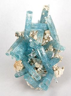 Aquamarine on Feldspar from the Erongo Mountains, Namibia. Aquamarine crystals do tend to be stunning!